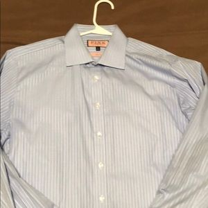 Thomas Pink 16.5 slim fit blue striped button up